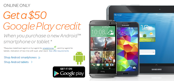 AT&T offers $50 in Google Play credit with online purchase of an Android phone or tablet