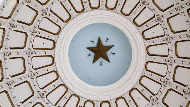 Texas written in the dome of the State Capitol in Austin
