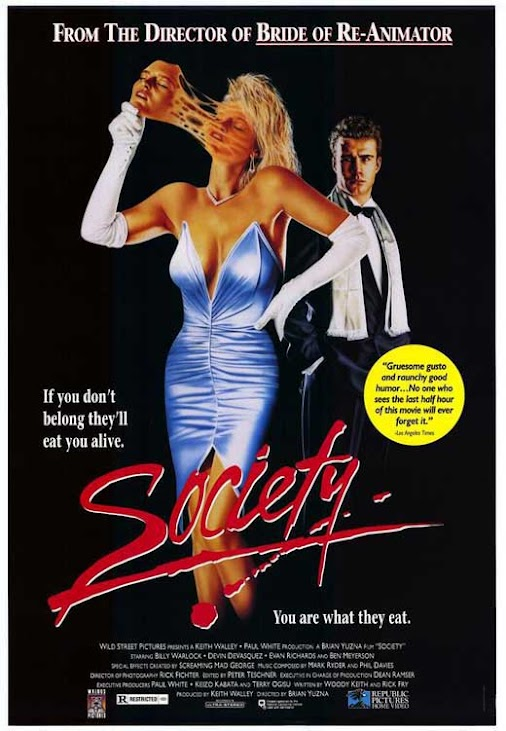 HALLOWEEN HORROR MOVIE REVIEW no 6: Society (1989) skates along its runtime as an average coming-of-...