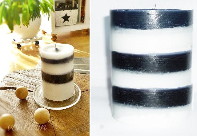 schwarz-weiss gestreifte Kerze selbstgemacht