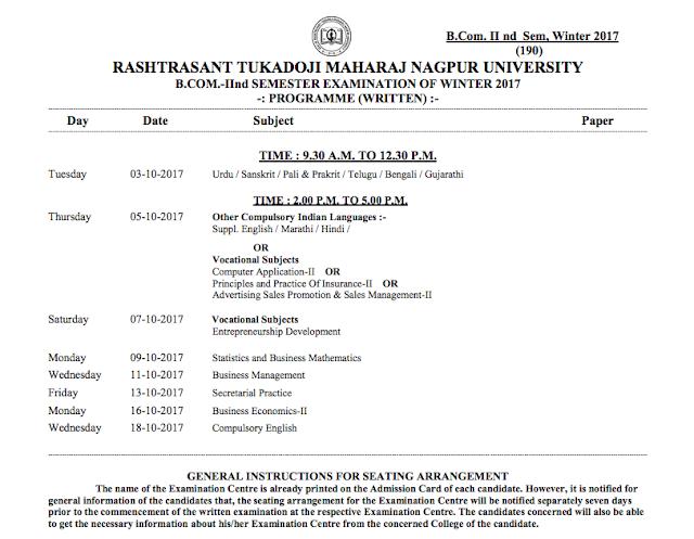 RTMNU Time Table BCom 2nd Sem Exam Winter 2017
