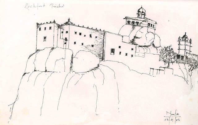 TRICHY pencil drawing of Trichy Rockfort by a French artist,ManfaTrichy