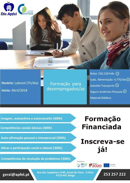 Cursos remunerados para desempregados em Braga