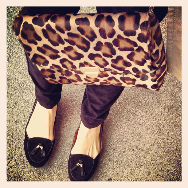 leopard print bag and tasseled loafers