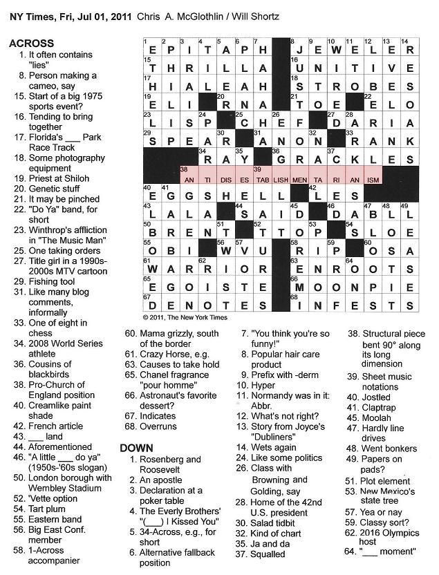The New York Times Crossword in Gothic: 07.01.11