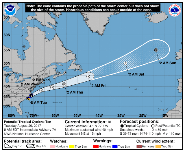 National Hurricane Center: Tropical Storm Irma Projected Path