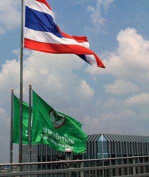 Флаг Касикорн банка и Таиланда