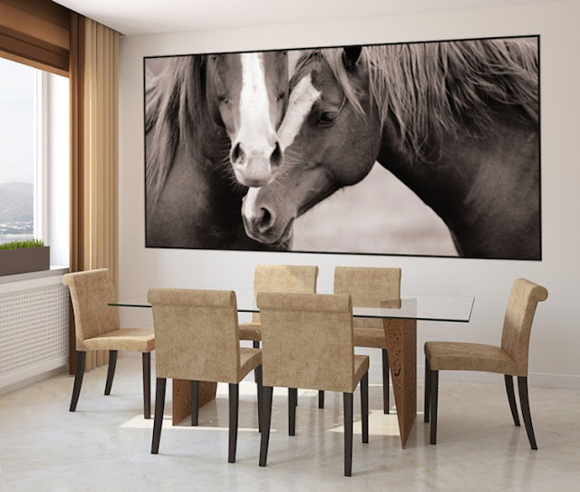 häst tapet svartvit fototapet hästmotiv tjejtapet tjejrum flickrum flicktapet ungdomsrum fondtapet
