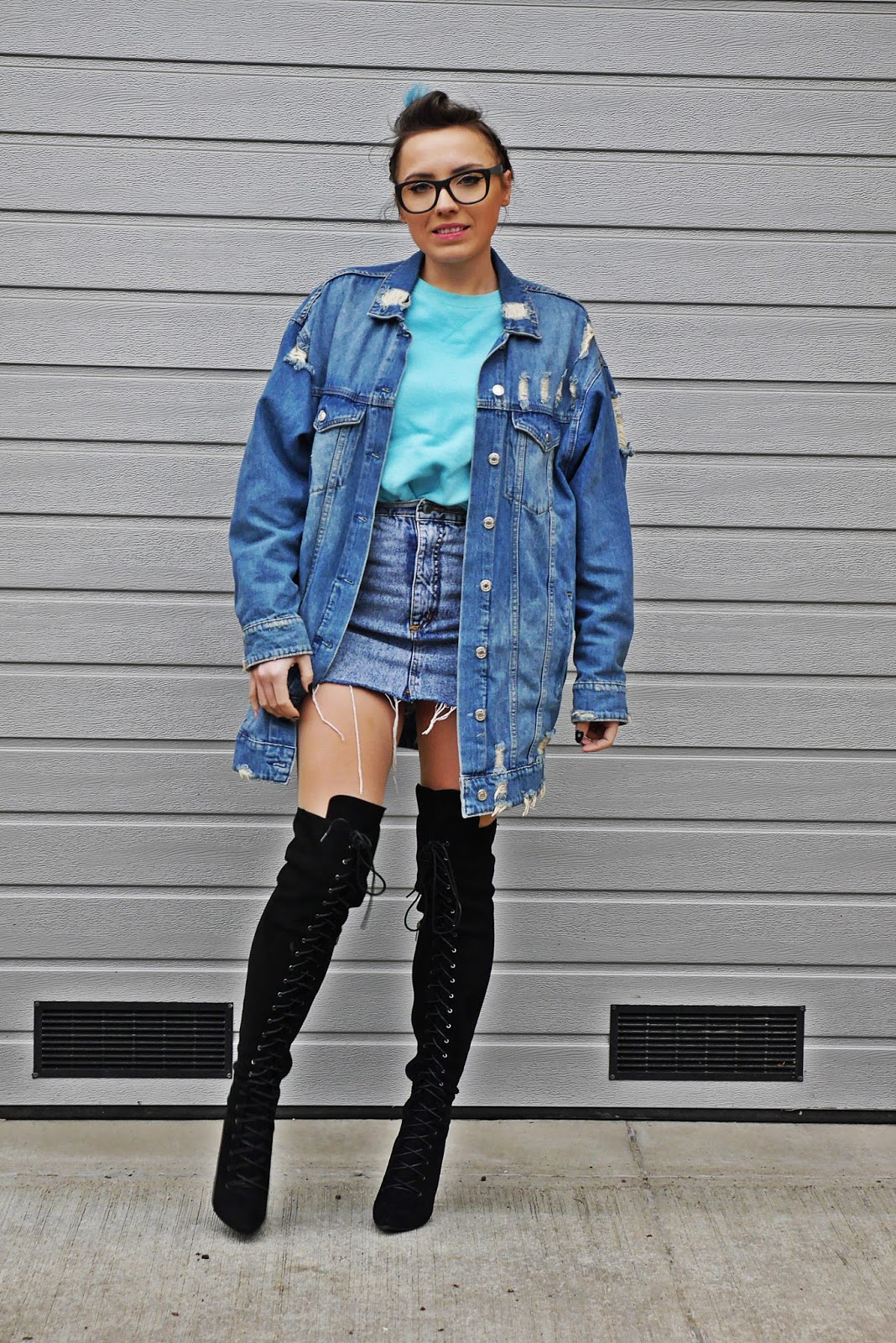 denim jacket high knee boots blue sweater karyn blog fashion blogger ootd