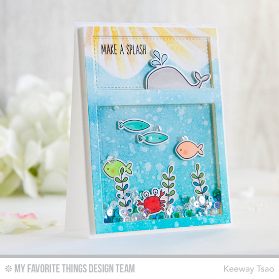 Handmade card from Keeway Tsao featuring Soak up the Fun stamp set and Die-namics, Whimsical Waves Background stamp, Essential Cover-Up Vertical Die-namics, and Sun Rays Stencil #mftstamps
