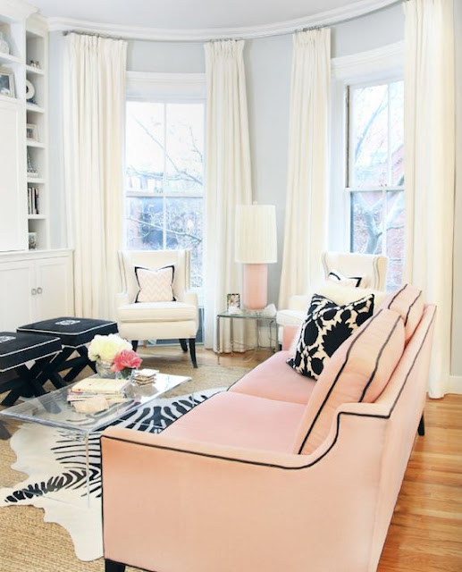 black mongrammed x bench lucite coffee table pink black decor interior living room