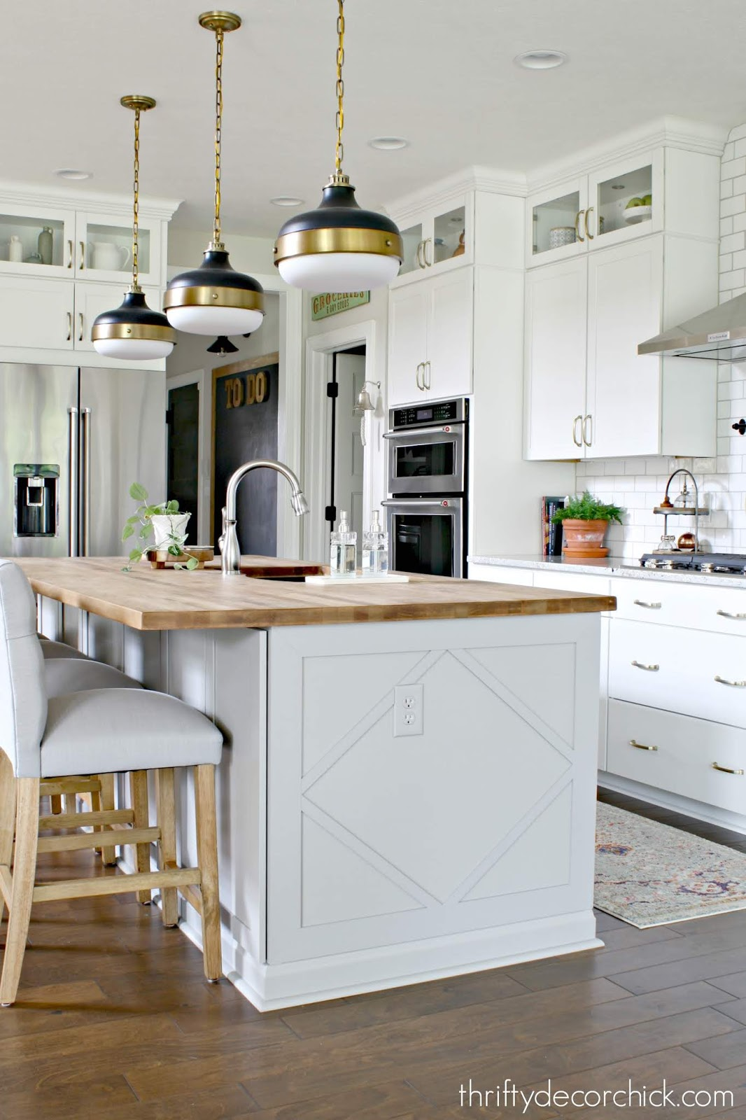 How To Customize A Plain Kitchen Island With Side Panels From Thrifty Decor Chick