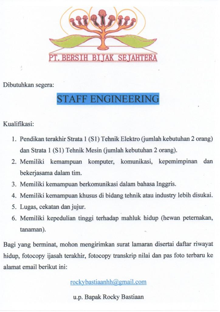 Lowongan Kerja Staff Engineering Pendidikan Minimal S1 Lowongan