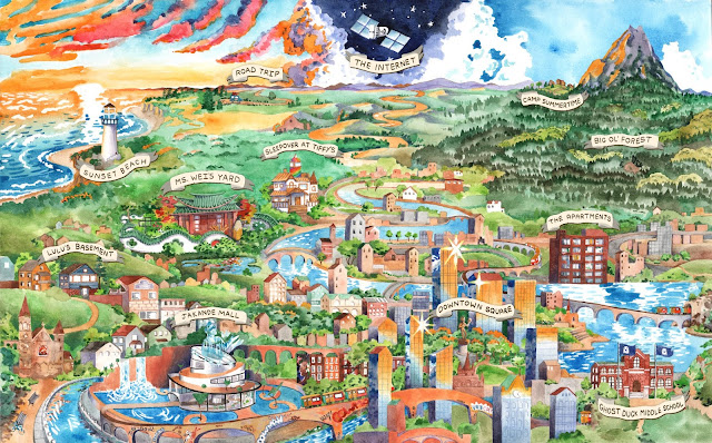 A visual map of a town, including a local mountain, various buildings, a river, a seaside, and a lighthouse.