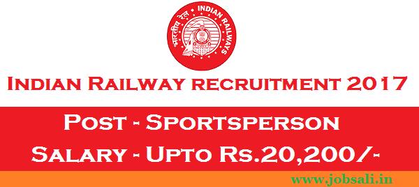 Indian Railway Jobs, Eastern Railway Sportsperson vacancy, Indian Railway vacancy
