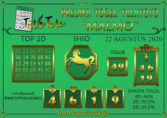 Prediksi Togel MALMO TULISTOTO 22 AGUSTUS 2020