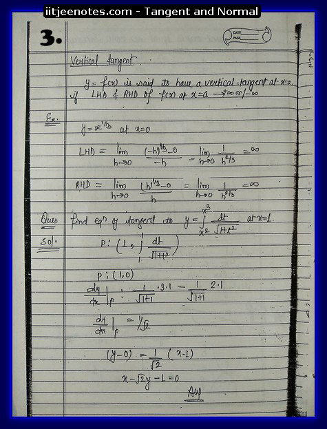 Tangent and Normal Notes IITJEE2