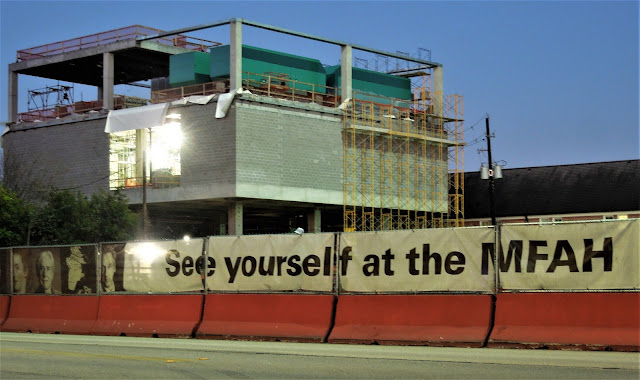 """""""See yourself at the MFAH"""" banner at Glassell School of Art construction site in the Museum District"""