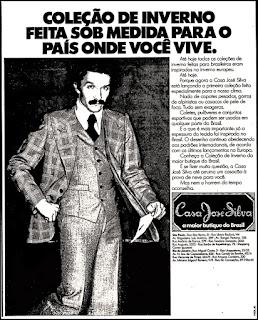 Casa José Silva, moda masculina decada de 70; moda anos 70; propaganda anos 70; história da década de 70; reclames anos 70; brazil in the 70s; Oswaldo Hernandez