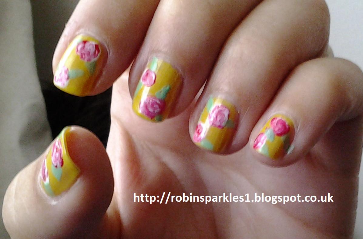 Robin Sparkles Blog: Vintage Victorian Rose Flower Nail Art