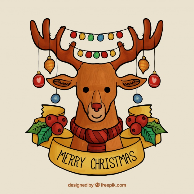 Hand drawn merry christmas with reindeer and string lights Free Vector