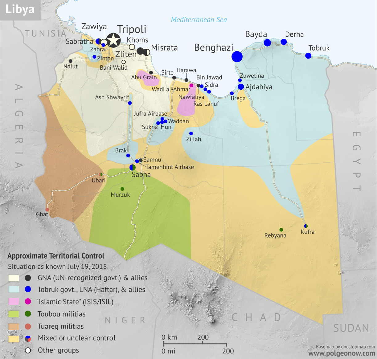 Libya: Who controls what? A concise, professional map of of who controls Libya now (July 2018). Shows detailed territorial control in the Libyan Civil War as of July 19, 2018, including all major parties (Government of National Accord (GNA); Tobruk House of Representatives, General Haftar's Libyan National Army (LNA), and allies; Tuareg and Toubou (Tebu) militias in the south; the so-called Islamic State (ISIS/ISIL); and other groups such as the National Salvation Government(NSG) and religious hardline groups). Includes terrain and major roads. Colorblind accessible.