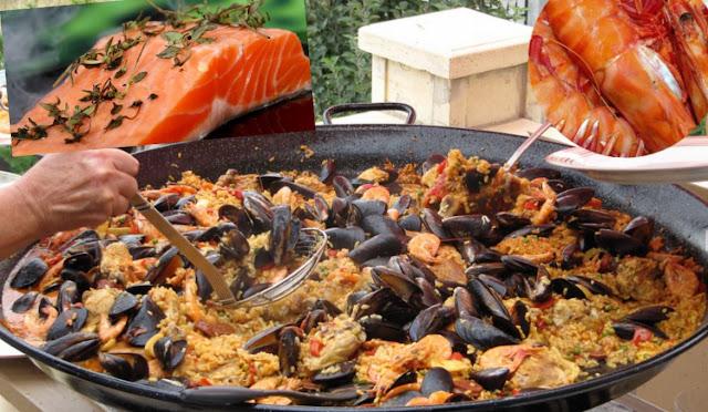 Paella nordique aux fruits de mer, saumon, chorizo, sans calmar