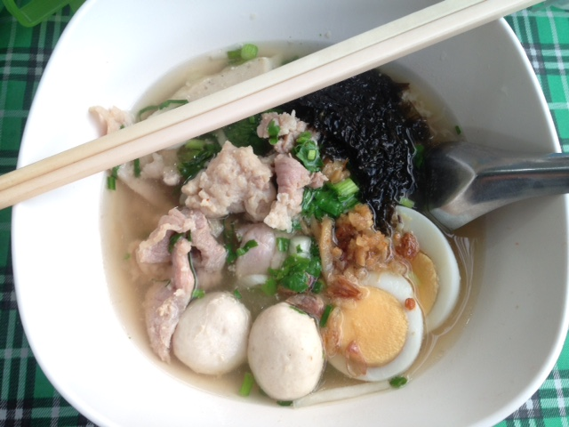 Bangkok Thailand street food noodle soup with pork and eggs