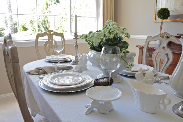 neutral easter tablescape white linens greys silver easter decor