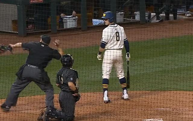Michigan DH Jimmy Obertop ejected for swiping dirt with bat 2/14/2020