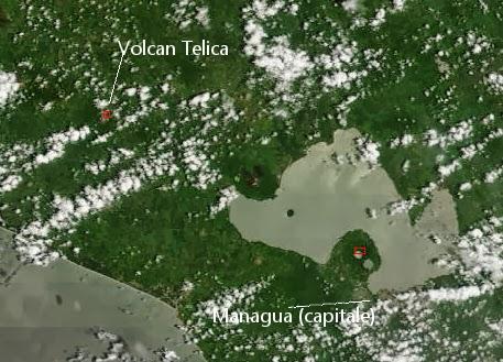 Signal thermique sur le volcan Telica, 25 septembre 2013