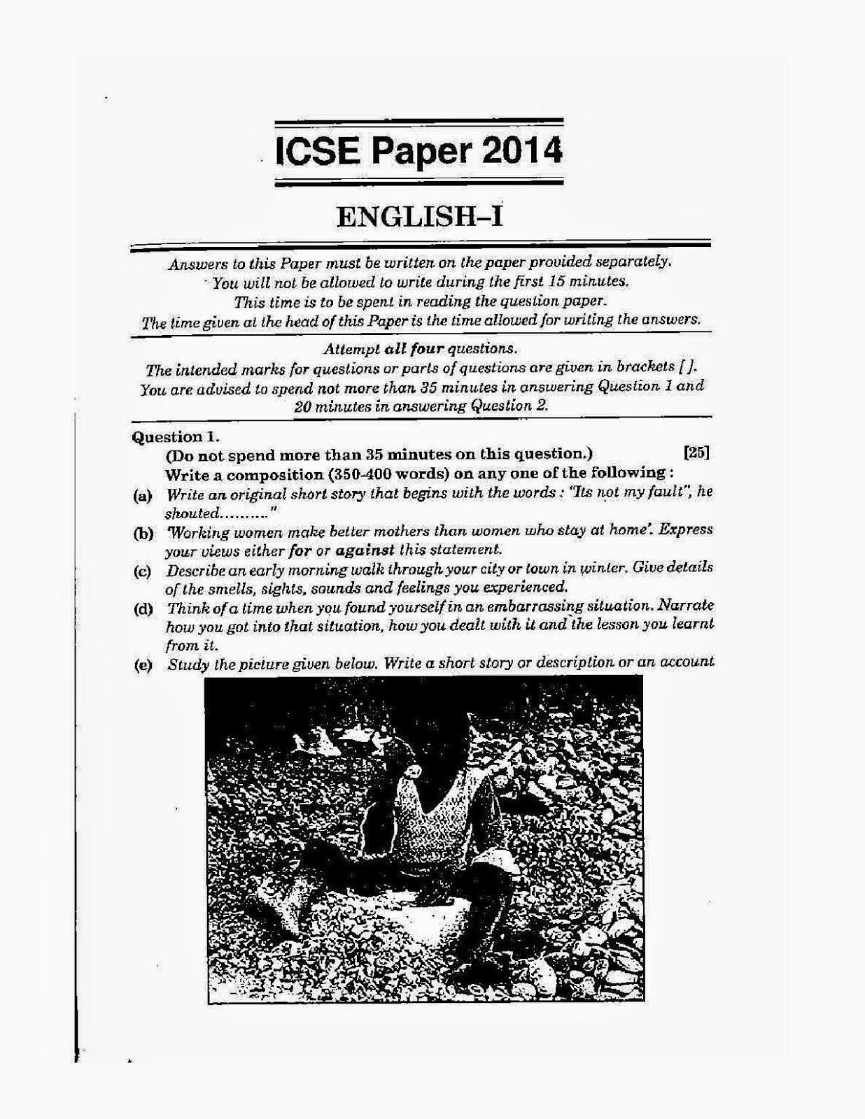 Icse English Paper 1 English Language Class X