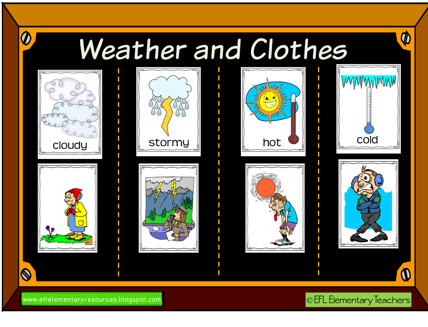 Efl Elementary Teachers Weather And Clothes Themes For