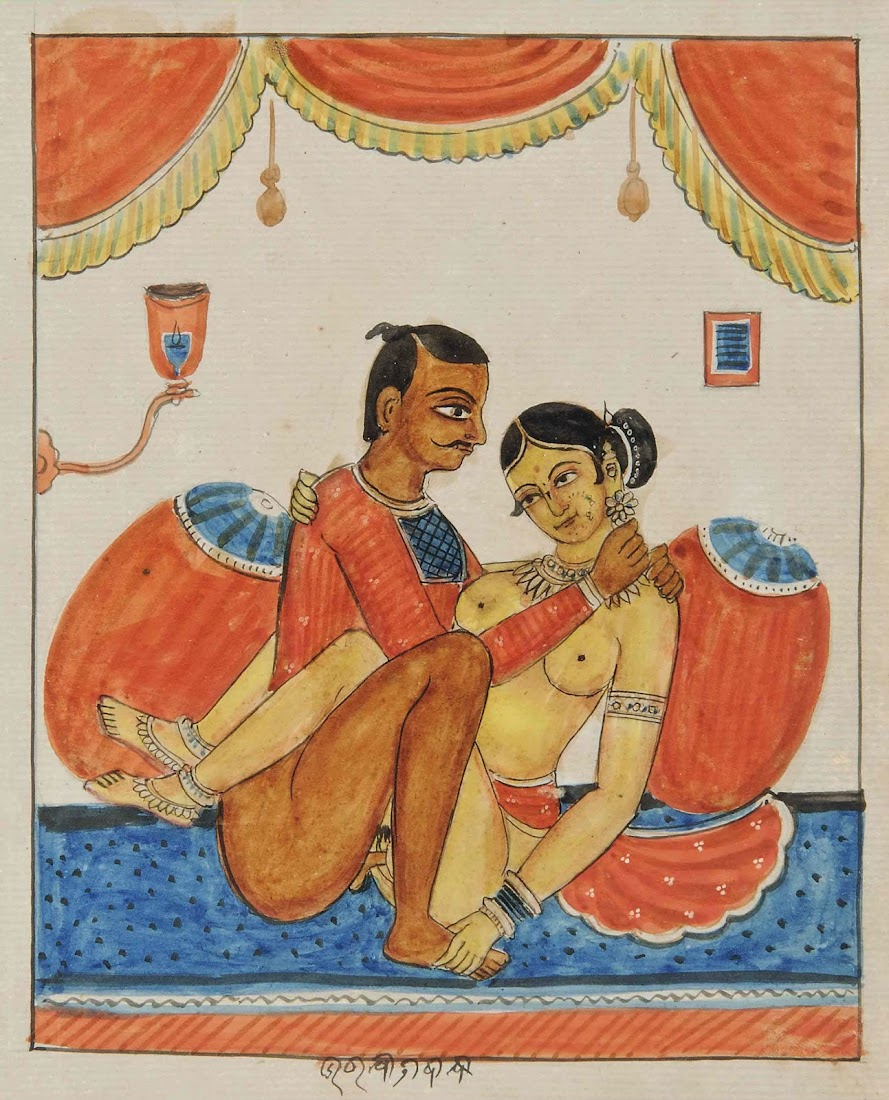 A couple in an Amorous Embrace, Under a Curtain - India c1875