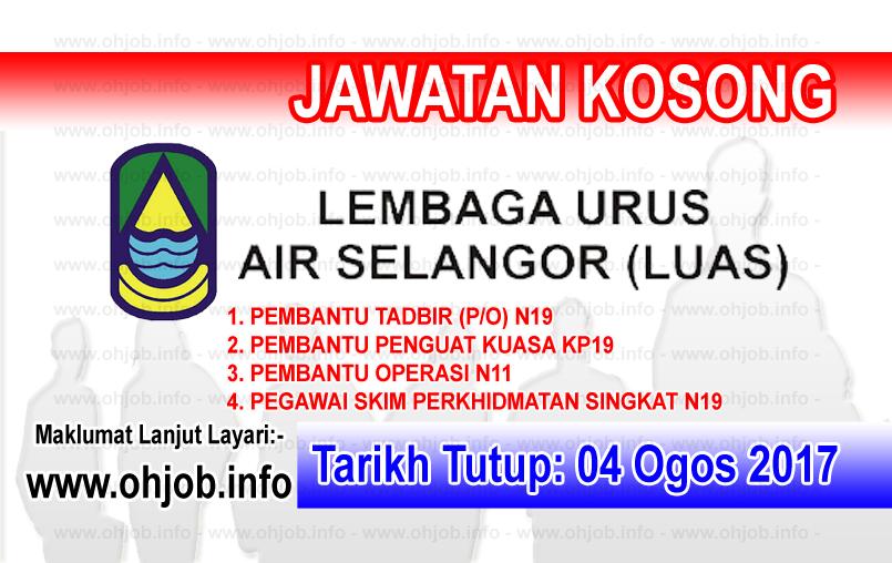 Jawatan Kerja Kosong Lembaga Urus Air Selangor - LUAS logo www.ohjob.info ogos 2017