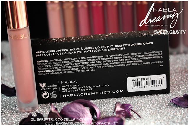 sweet gravity Dreamy Matte Liquid Lipstick rossetto liquido nabla cosmetics  inci