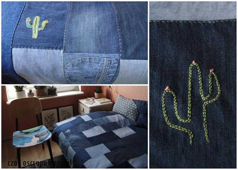 jeansowa narzuta z haftem, kaktusy