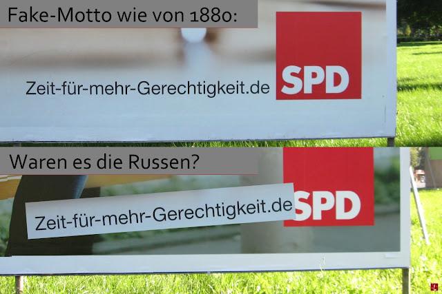 SPD Real-Satire Fake Motto Wahlplakate Aussage Politik Kampagne verschandelt überklebt