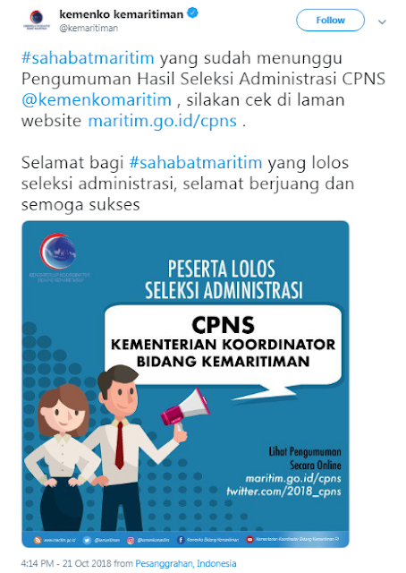 Pengumuman Seleksi Administrasi CPNS 2018