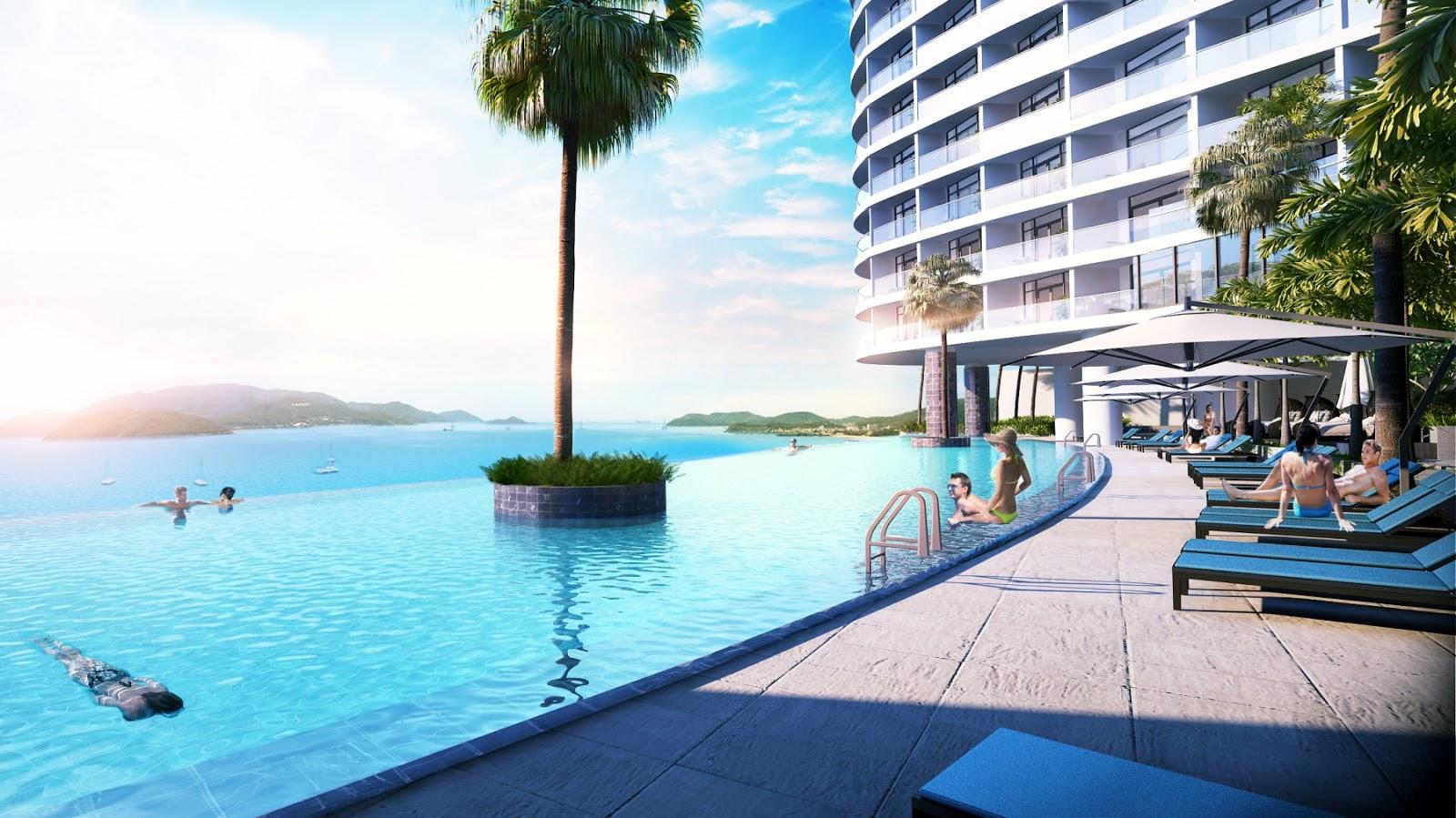 Hồ bơi tràn của Beau Rivage Nha Trang