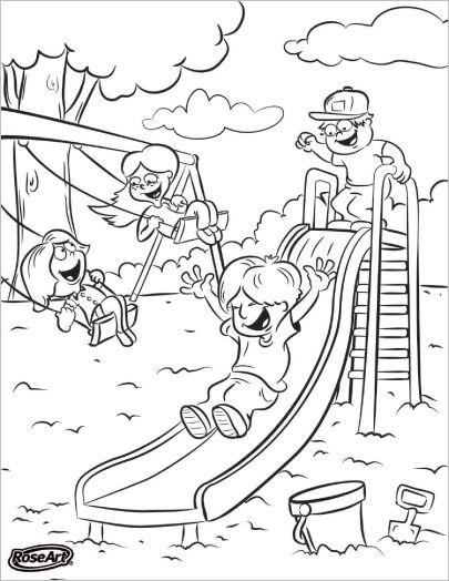 Tranh cho bé tô màu các bé chơi ở khu vui chơi