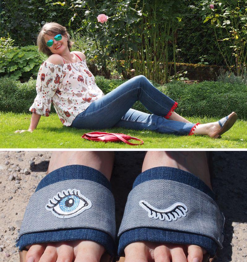 Tunika mit Trompetenärmeln zur cropped Jeans mit Pompoms