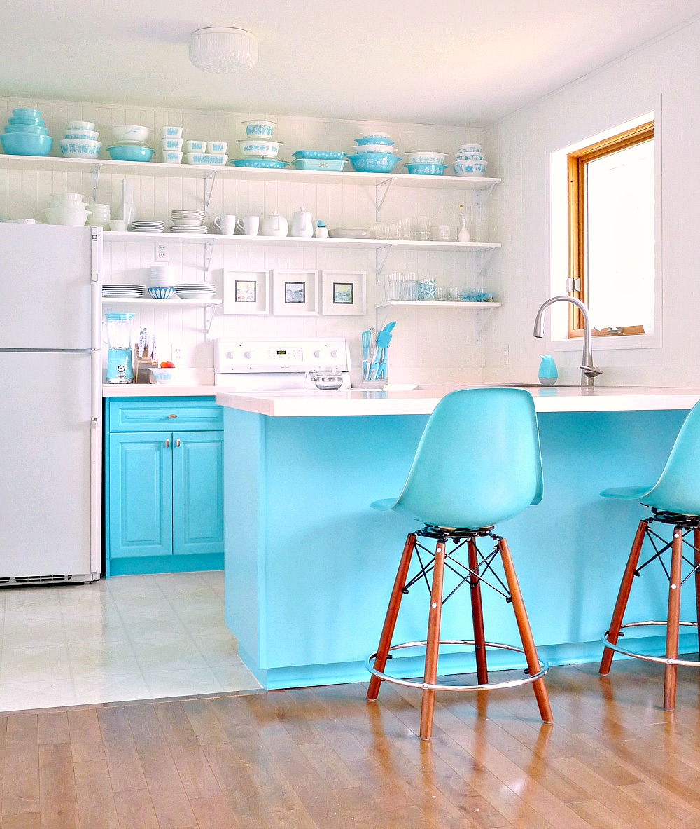 Pyrex® Turquoise and White Renovated Kitchen