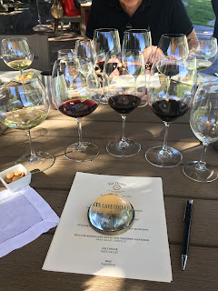 Photo of five glasses of wine at an outdoor wine tasting at Far Niente winery in Napa. https://trimazing.com/