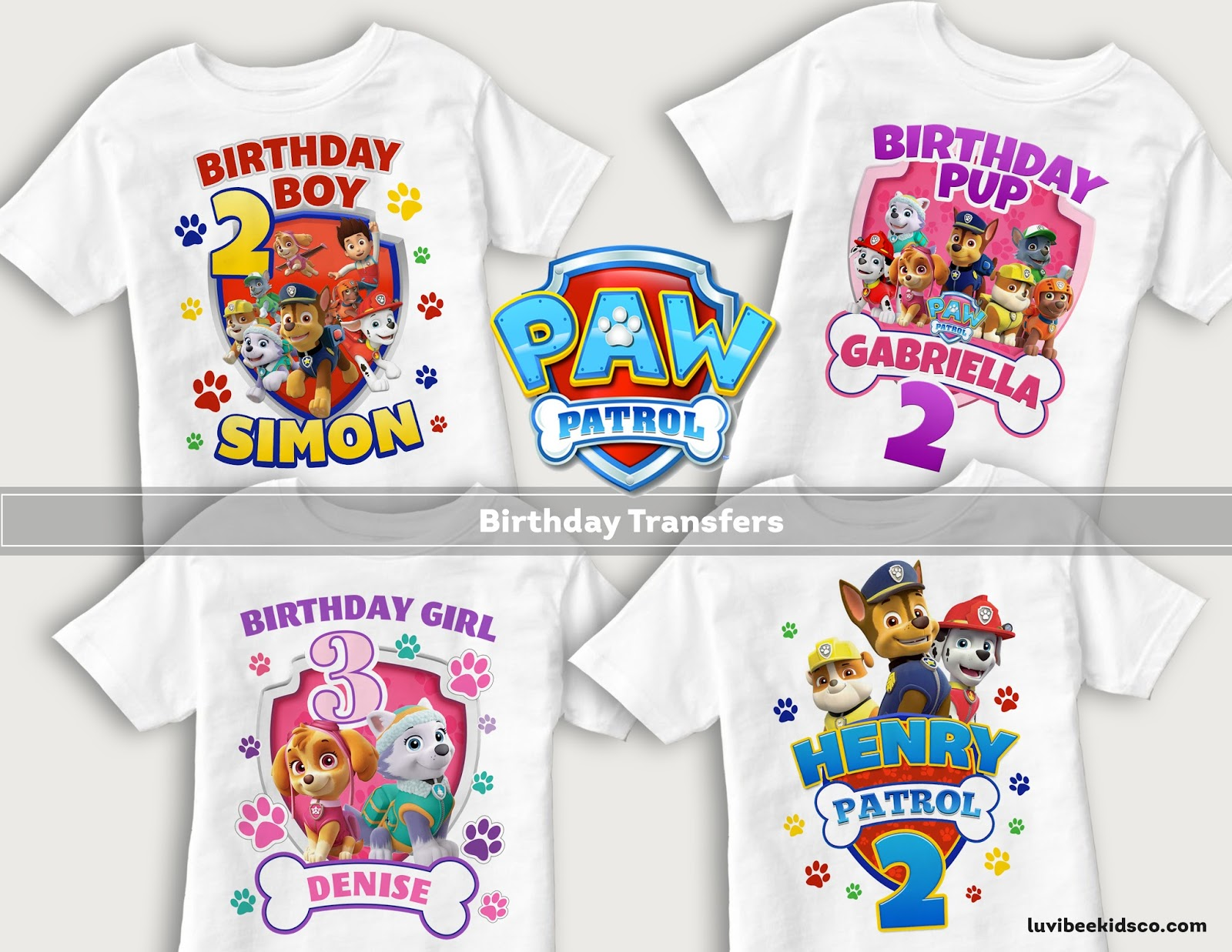 New Paw Patrol Birthday Shirt Designs