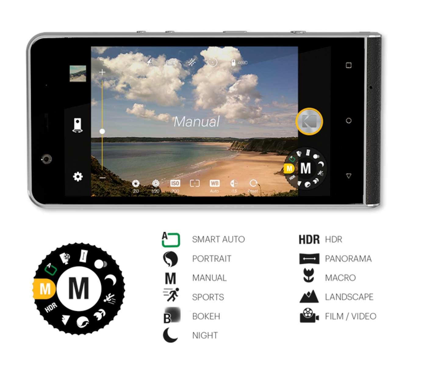 Смартфон Kodak Extra, меню камеры
