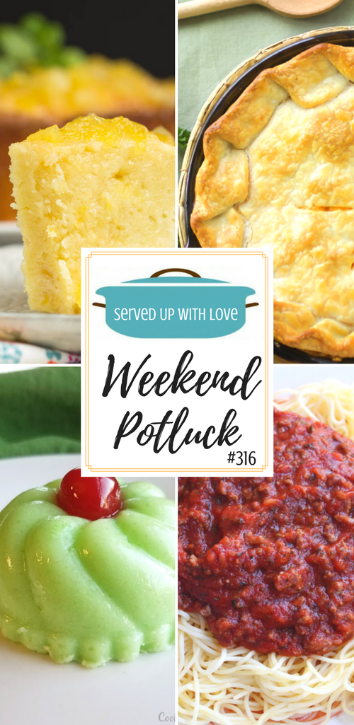 So many delicious features at Weekend Potluck #316. Two Step Pineapple Pound Cake, Super Easy Chicken Pot Pie, Great Grandmas Green Gelatin Salad, Easy Spaghetti Meat Sauce, and Mrs. D's Pistachio Bundt Cake.