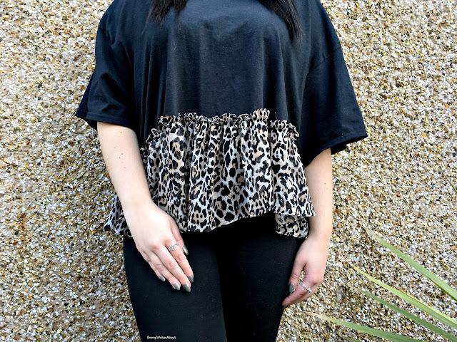 Leopard Print Frill Hem T Shirt