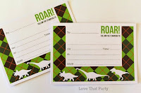 image of green dinosaur birthday invitations
