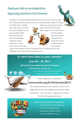 Maker Fun Factory VBS 2017 at First Presbyterian Church of Aberdeen June 26 - 29 from 5:15 - 7:30 pm
